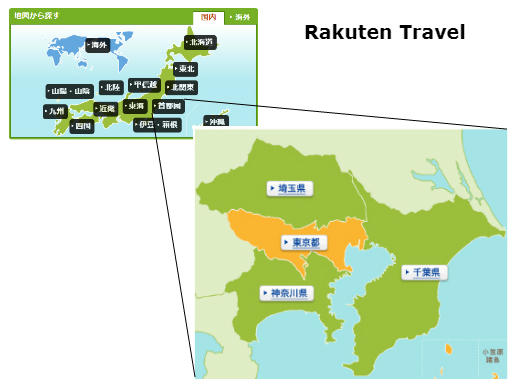 Image shows the interactive map on Rakuten Travel's landing page