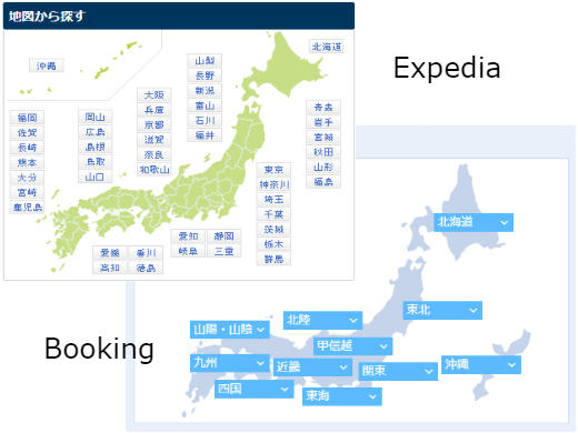 Image shows the interactive maps on Booking and Expedia's Japanese websites