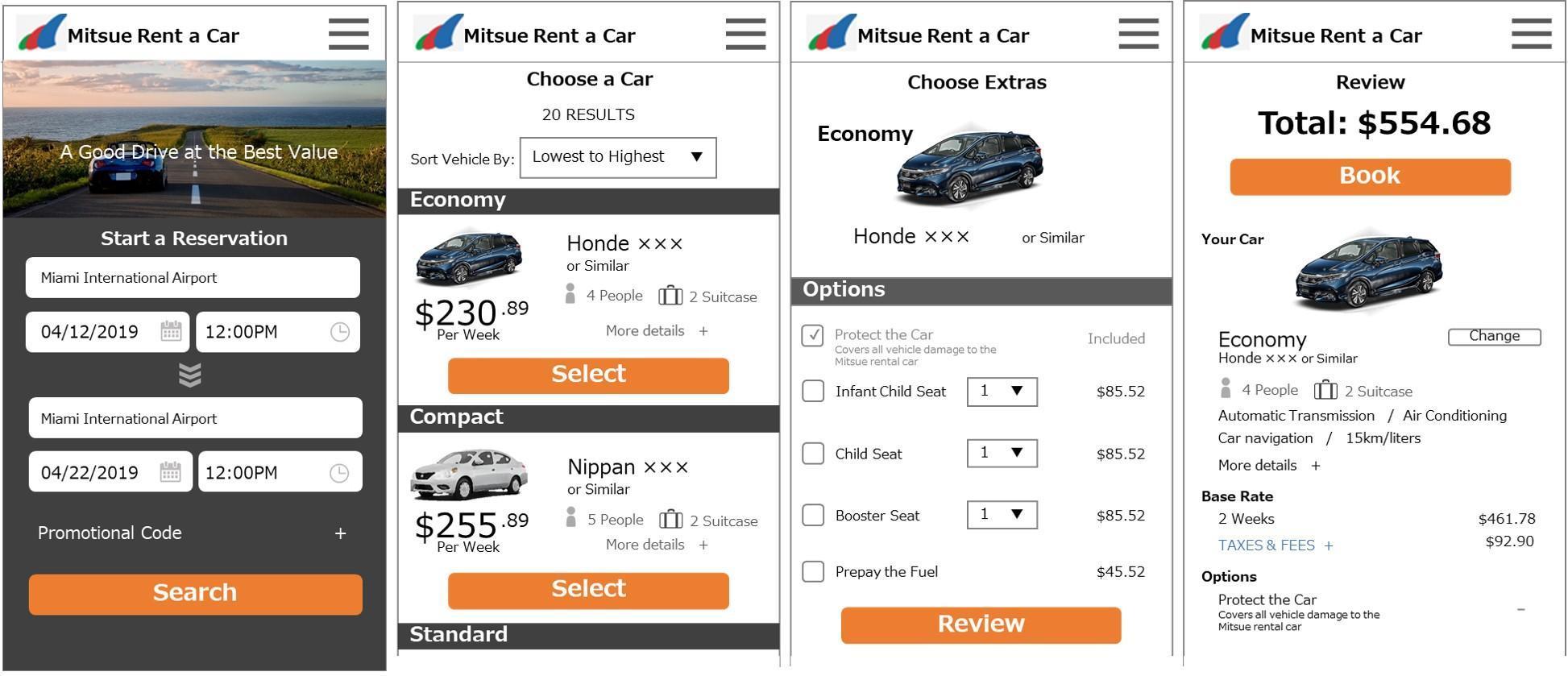 Screens of rentacar app