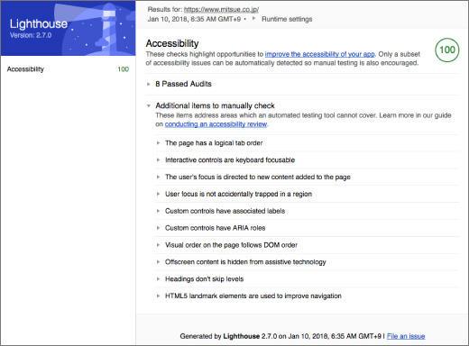 Chrome拡張版のLighthouse 2.7を使いアクセシビリティ監査を行った結果のスクリーンショット