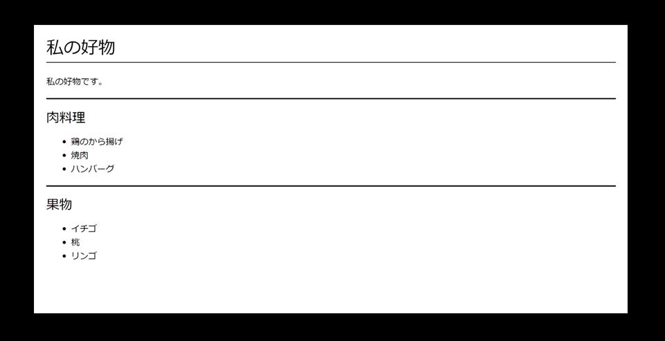 プレーンhtmlのスクリーンショット。スライドのタイトルが見出し要素、本文中のリストがリスト要素で記述されている
