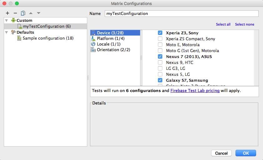 テストを実施する環境(端末、OSバージョン、地域、向き)が選択できる画面