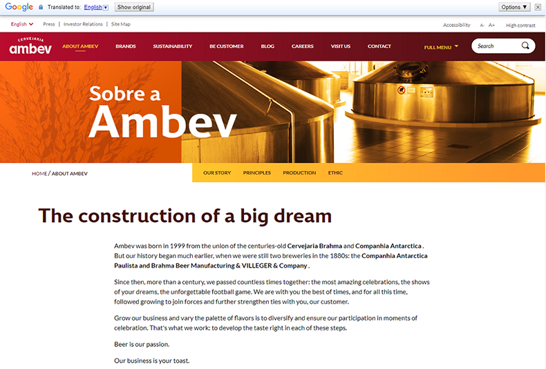 English machine-translation of a page on Ambev's website. There are some errors in the translation