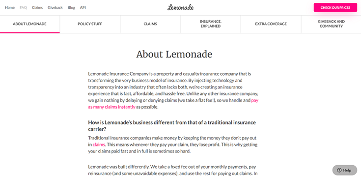 Lemonade's FAQ page with jumplinks for - about Lemonade, policy stuff, claims, insurance explained, extra coverage, and giveback and community