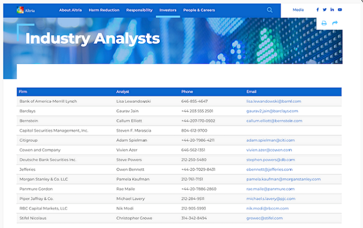 Screen capture of analyst contact information on Altria`s corporate website