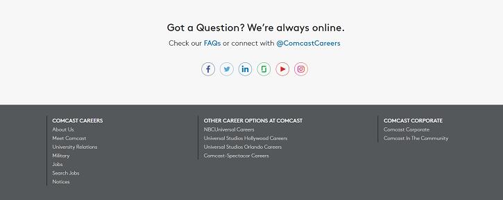 Screen capture of Comcast`s recruitment website