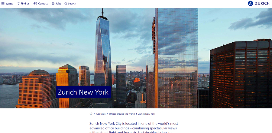 Screen capture of Zurich's Offices Around the World page for New York
