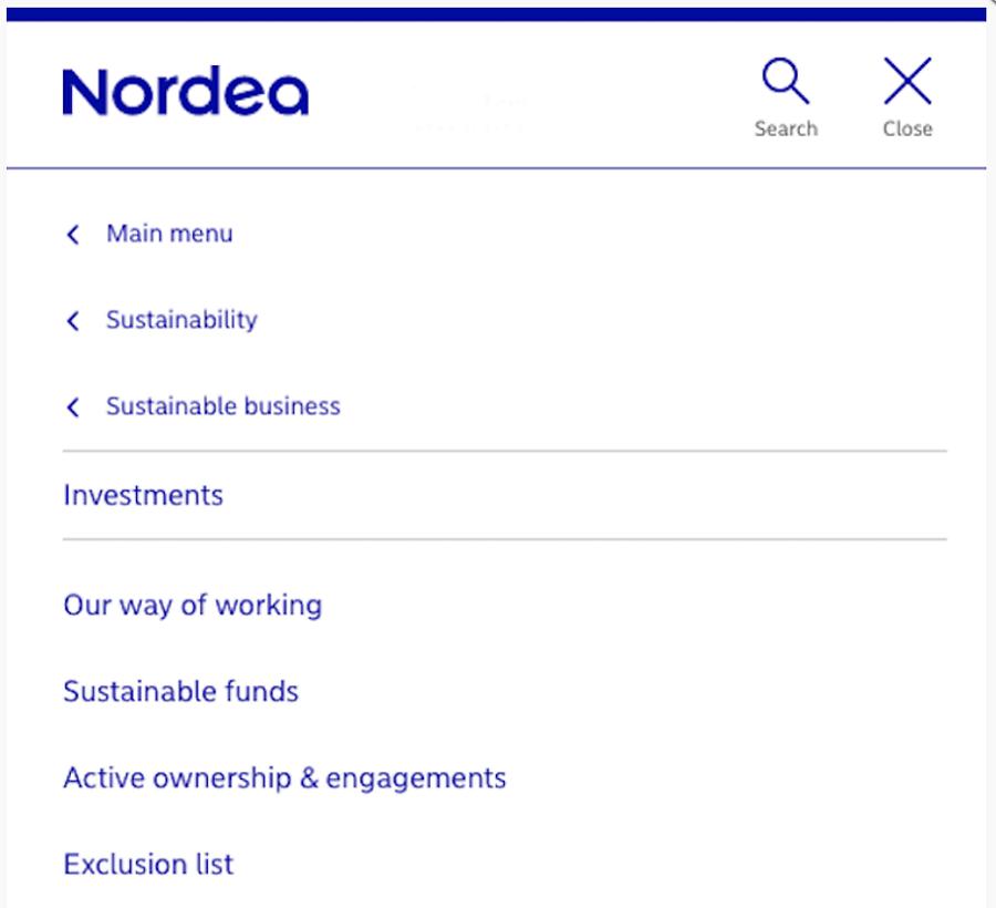 Screen capture of Nordea's mobile menu