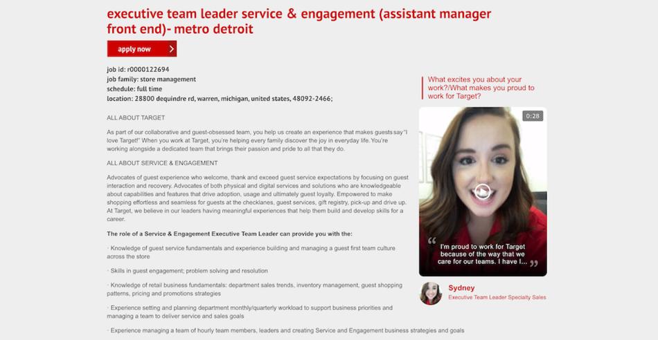 Screenshot from Target's recruitment website