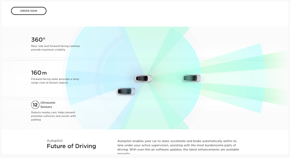 Screen capture of an animation from Tesla's website
