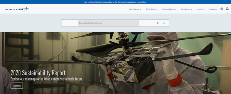 Screen capture of Lockheed Martin's search box
