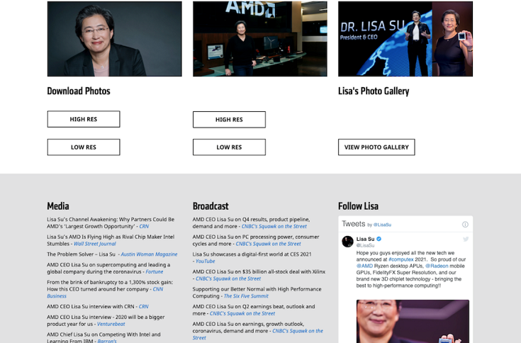 Screen capture of Lisa Su`s page