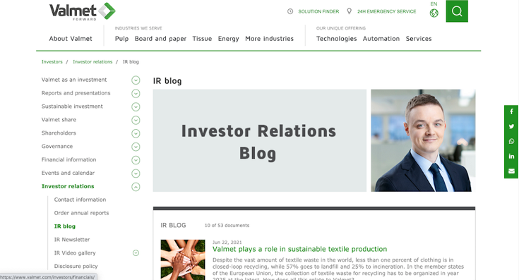 screenshot of Valmet's investor blog