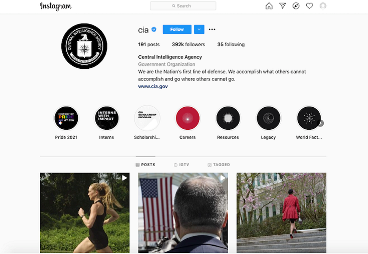 Screen capture of the CIA's Instagram page