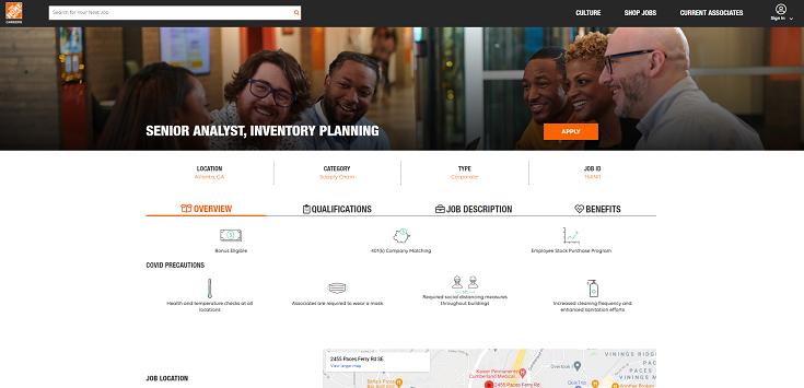 Screen capture of Home Depot's job information