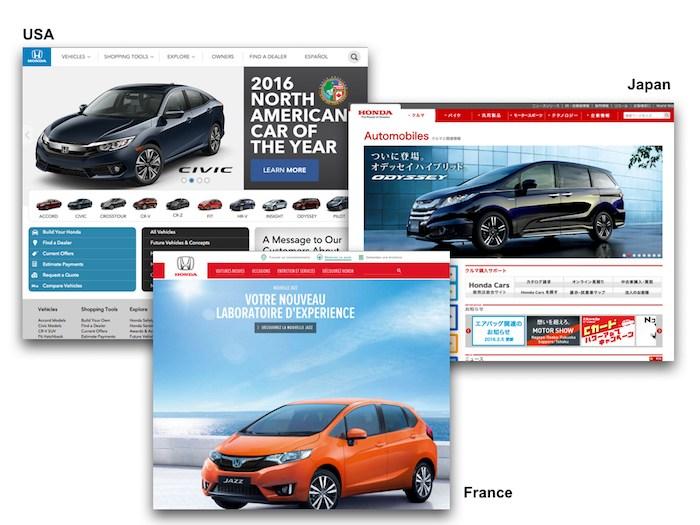 アメリカ、日本、フランスの本田 Webサイト