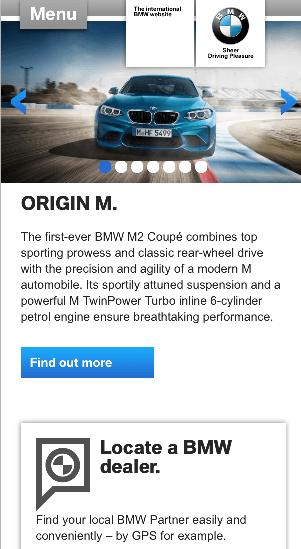 BMWのモバイル向けWebサイト