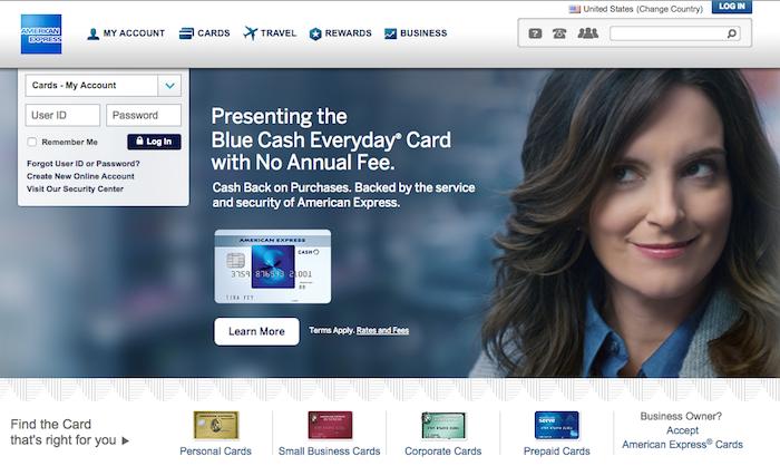 American Expressのホームページ
