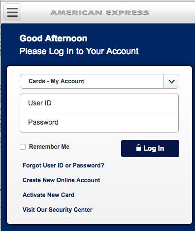 American Expressのモバイル向けWebサイト