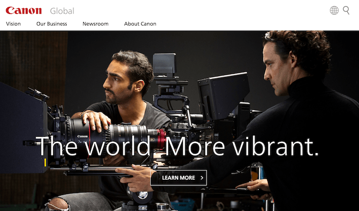 global.canon Webサイトのトップページ