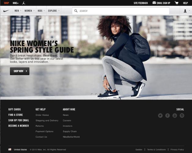 2015年のNikeのホームページ