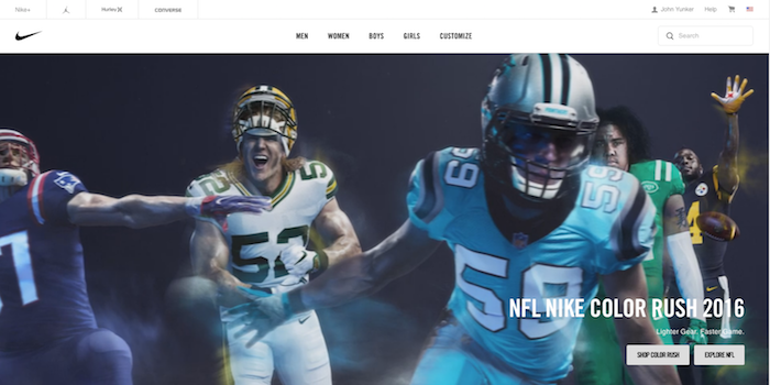 2016年のNikeのホームページ
