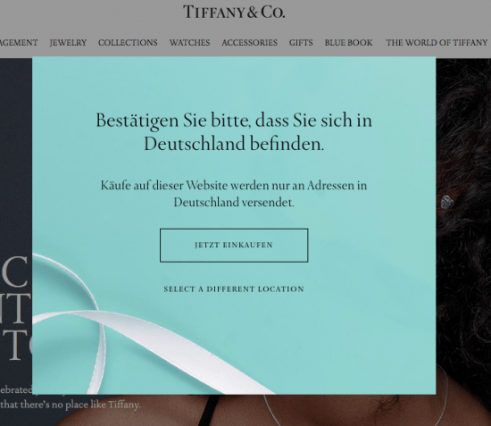 Tiffanyの.com Webサイトで初回訪問時に表示されるオーバーレイ(ドイツからアクセスしたためドイツ語で表示されている)