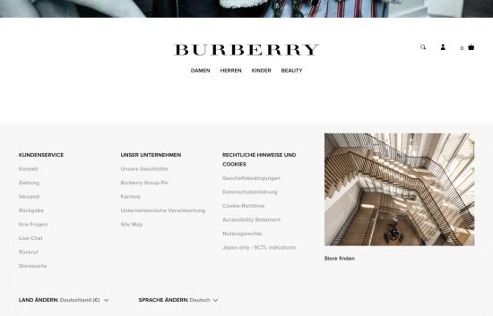 Burberryのドイツ向けWebサイト