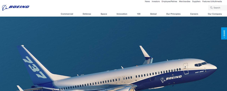 Boeingのウェブサイト