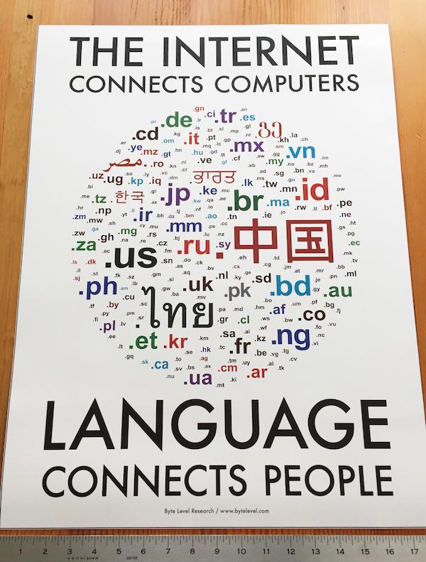 印刷で不具合の生じた「言語が人々をつなぐ」ポスター
