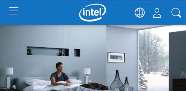 Intelのモバイル版のページのヘッダー