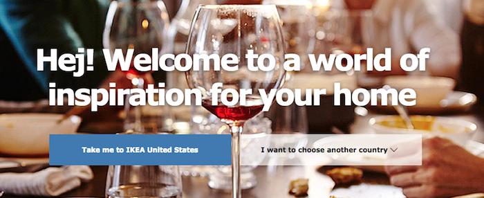 米国からIKEA.comにアクセスした際の画面キャプチャ
