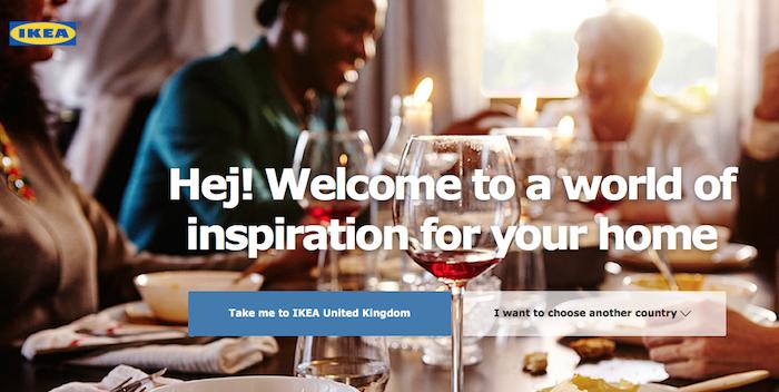 英国からIKEA.comにアクセスした際の画面キャプチャ