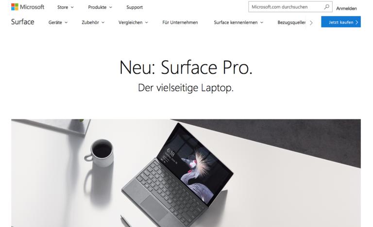 ドイツ向けのMicrosoftのWebサイト