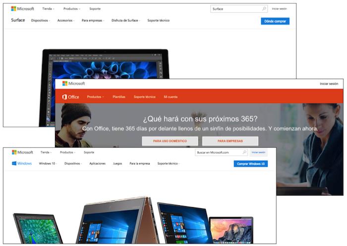 Surface、Office、Windowsそれぞれのヘッダー