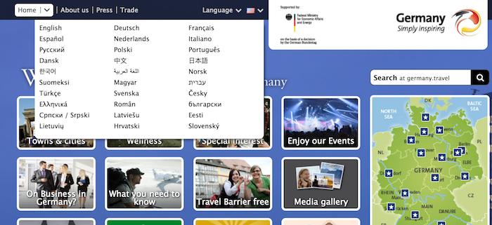 ドイツのサイトの画面キャプチャ
