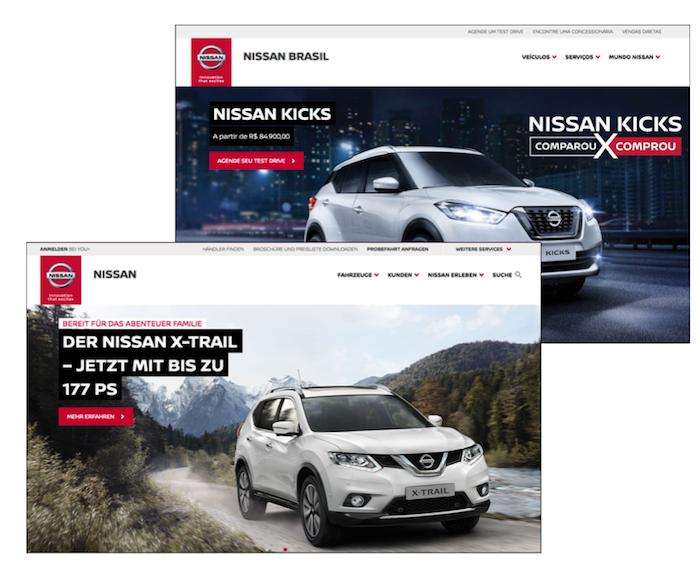 Nissanのドイツ向けとブラジル向けのサイトのトップページ