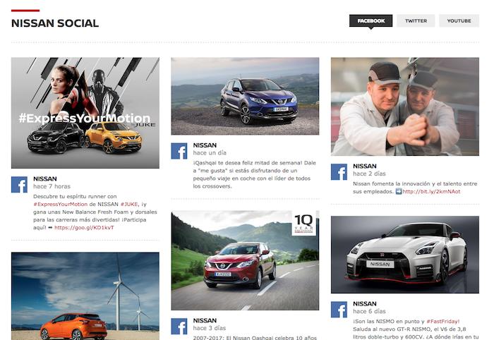 Facebookにスペイン語で投稿されたコンテンツの並ぶ、Nissanのスペイン向けサイトのトップページ
