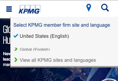 モバイルデバイスで表示したKPMGのWebサイトのグローバル・ゲートウェイ