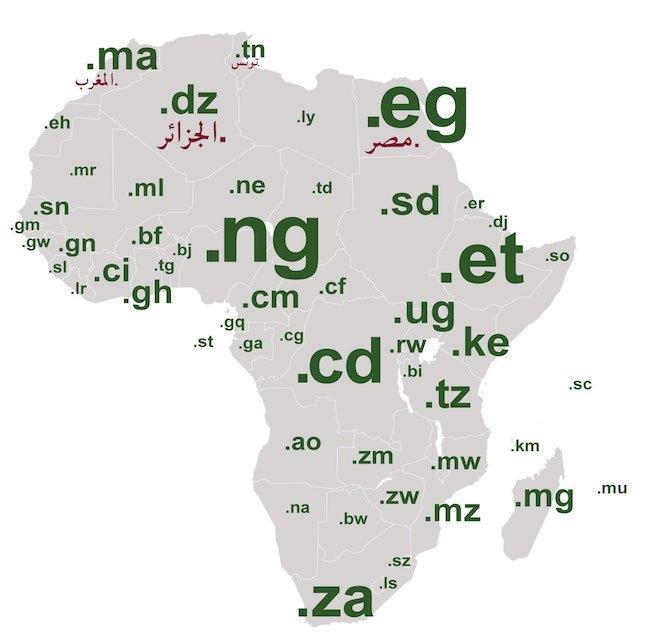 アフリカの国別コードを地図に重ね合わせた図