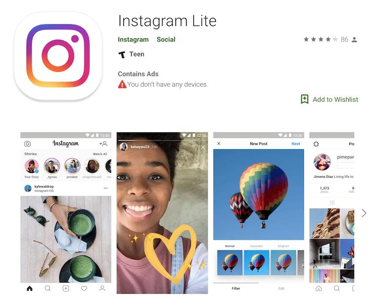 Instagramのライト(軽量)版アプリの紹介画面
