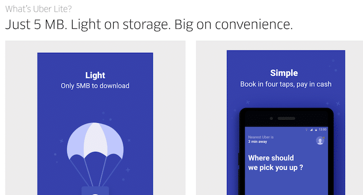 Uberのライト(軽量)版アプリの紹介画面
