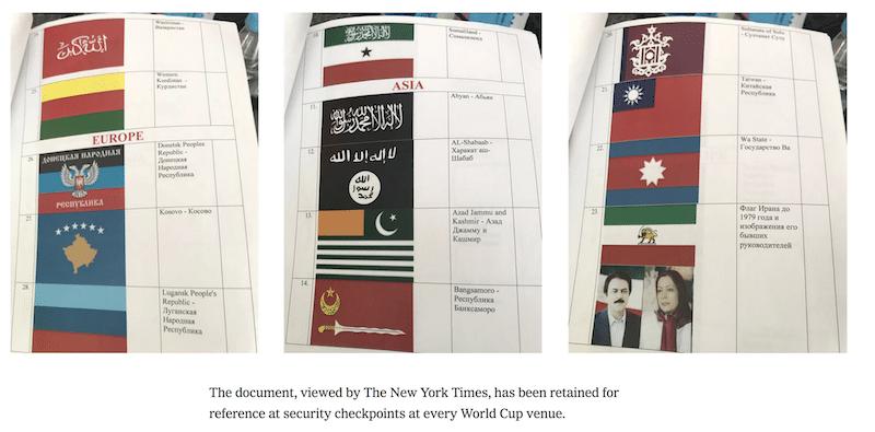 New York Timesの記事に掲載された、掲示を禁じられた国旗