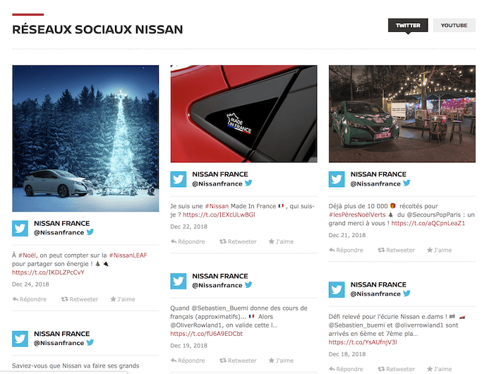 Nissanのフランス向けサイト。Twitterのソーシャルフィードが流し込まれている。
