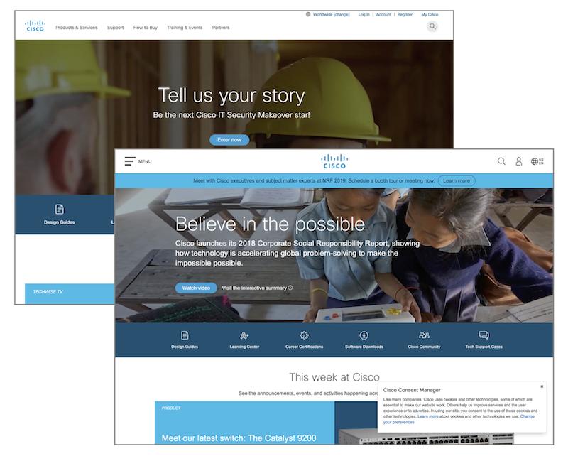 Cisco Systemsの.comサイト、トップページの新旧比較(奥が旧デザイン、手前が新デザイン)