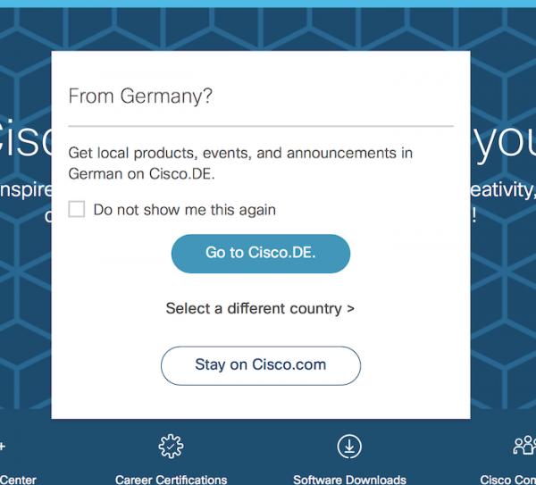 Cisco Systemsのサイトに見られる、ジオロケーションを用いたオーバーレイ表示