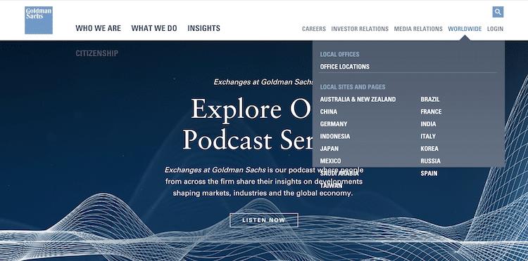 Goldman Sachsの.comサイトで、グローバル・ゲートウェイを表示させたところ