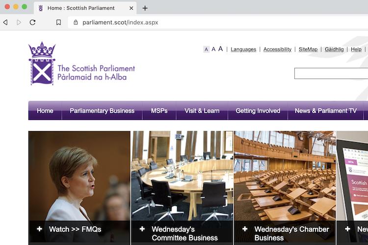 スコットランド議会のサイトの画面キャプチャ