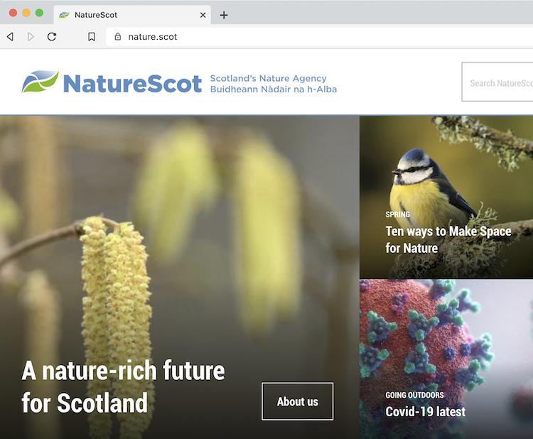 スコットランドの自然庁のサイトの画面キャプチャ
