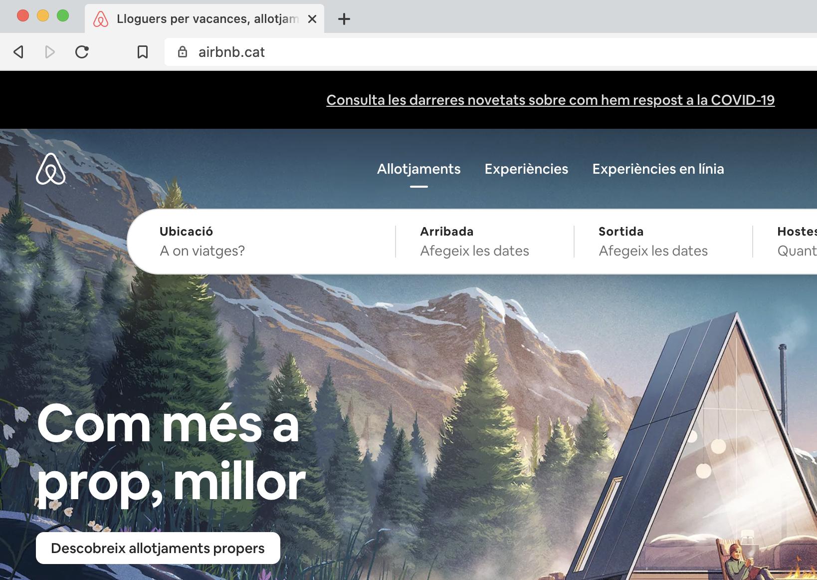 Airbnbのサイトの画面キャプチャ